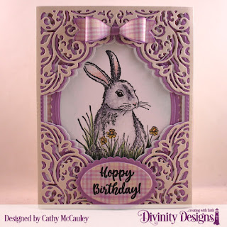 Divinity Designs Stamp Set: Hoppy Birthday,  Paper Collection:  Pastels Custom Dies:  Lacey Corners, Ovals, Oval Stitched Rows, Scalloped Ovals, Small Bow