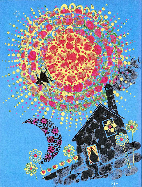 a Carlos Marchiori children's book illustration 1969,  thumbprints on blue paper, sun and moon