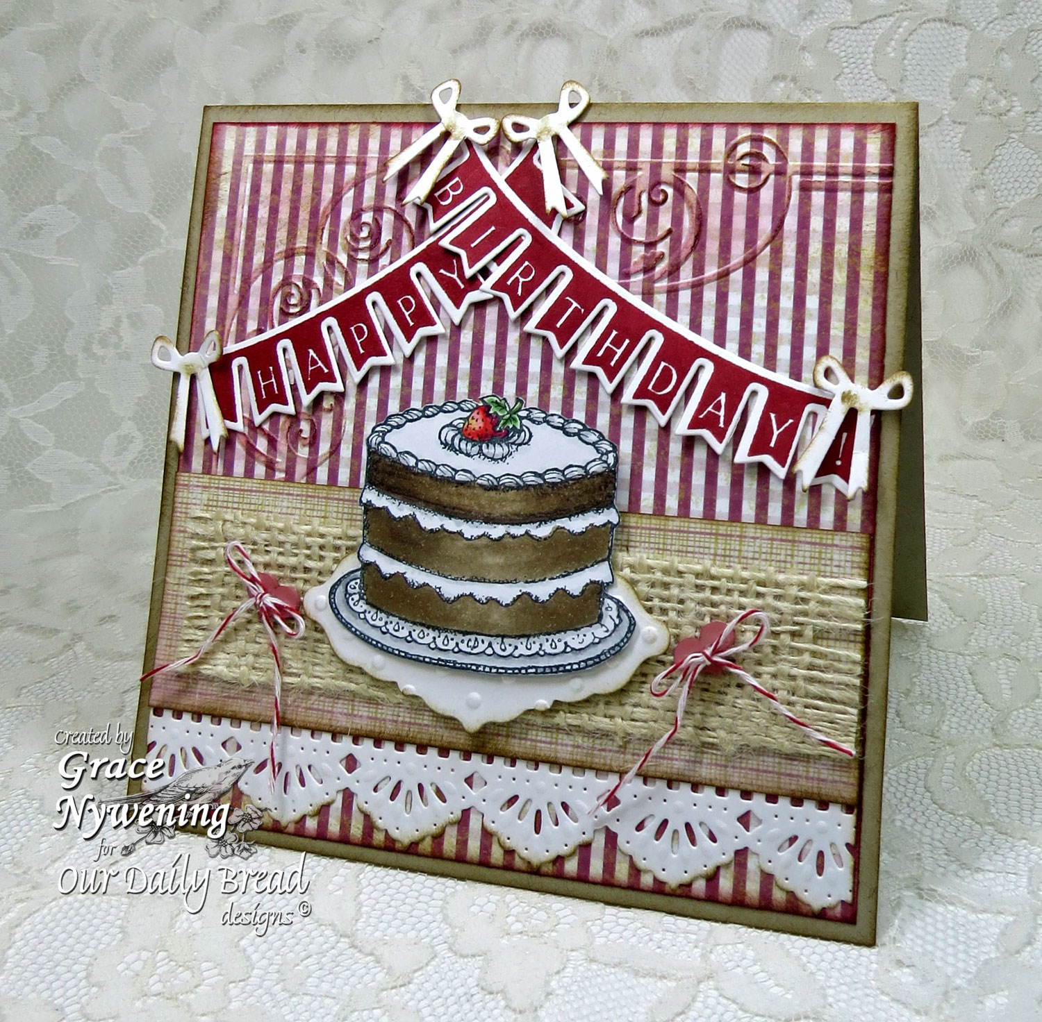 Stamps - Our Daily Bread Designs Pennant Swag 2, Cake Single, ODBD Custom Pennant Swag Die, ODBD Custom Beautiful Borders Dies, ODBD Custom Ornate Borders and Flowers Die, ODBD Rustic Beauty Paper Collection