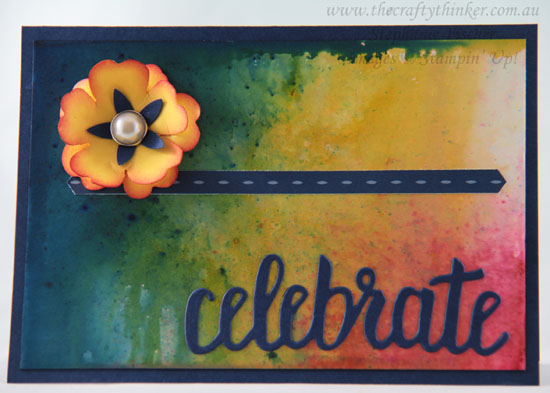 #thecraftythiner, #cardmaking, #brusho, Brusho background, Saleabration, Celebrate You dies, Stampin' Up! Australia Demonstrator, Sydney NSW