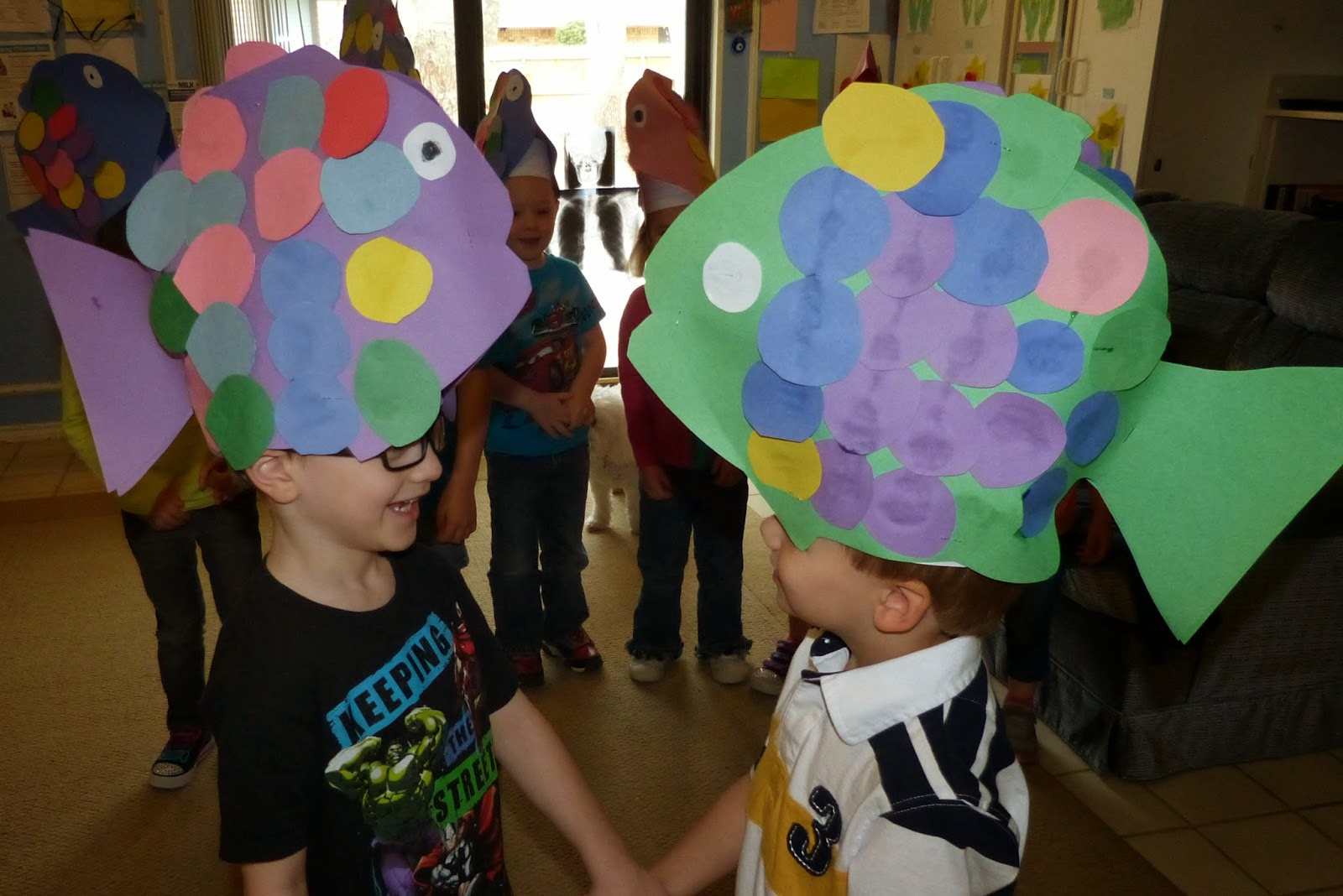 Fish hats, fish hats, roly poly fish hats from Paula's Preschool and Kindergarten