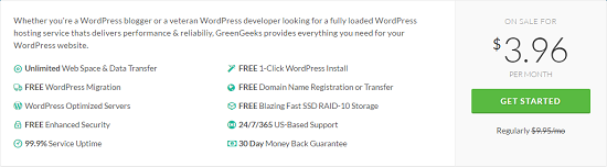 GreenGeeks Pricing, WordPress Hosting Pricing