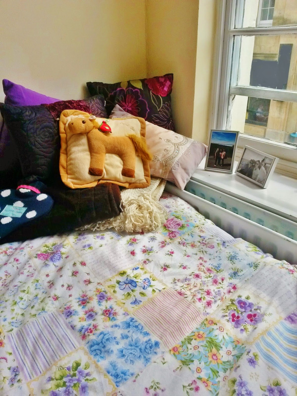 University bedroom, bedding and cushions