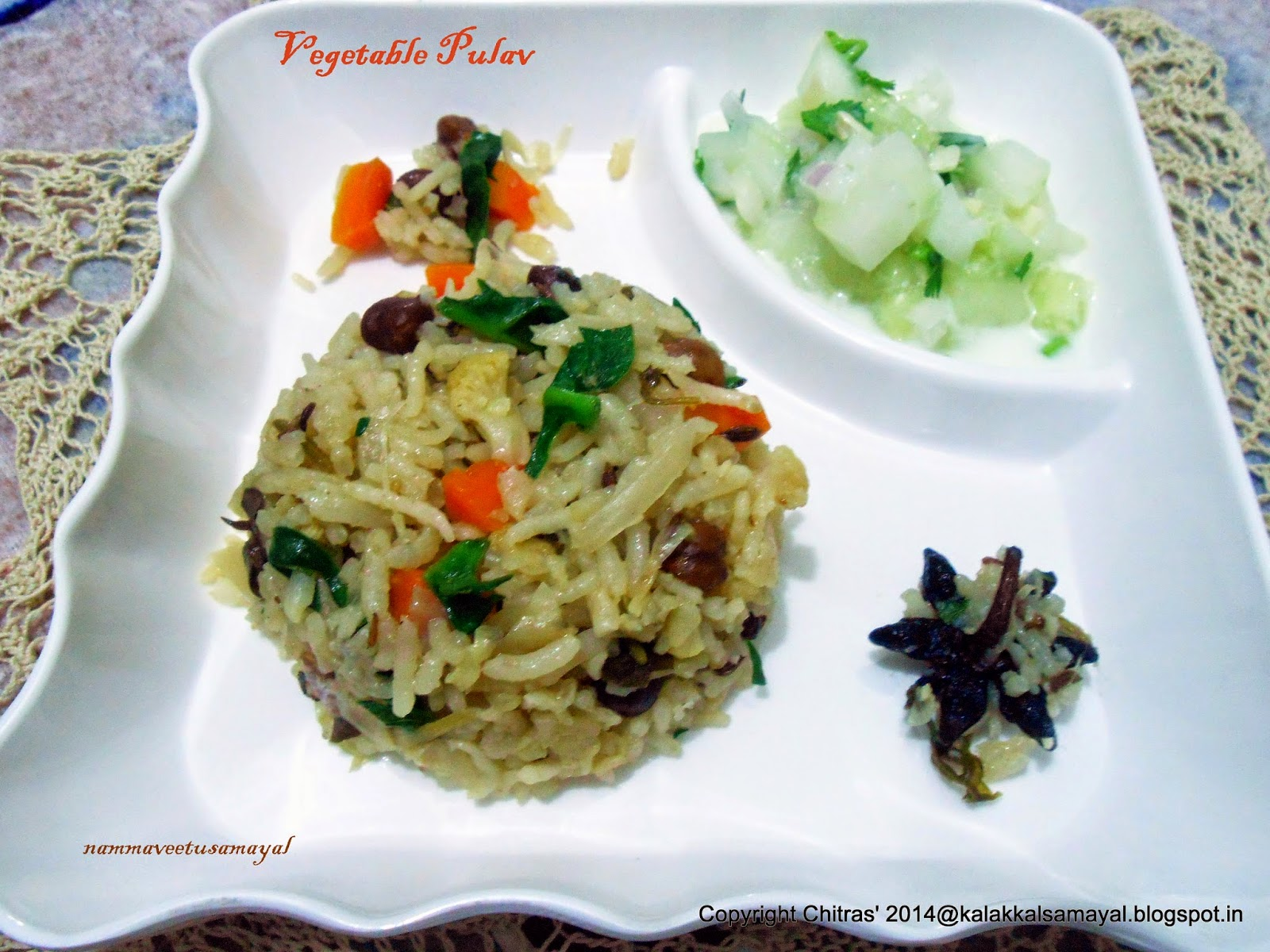 Veg pulav with coconut milk