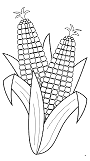 corn clipart black and white