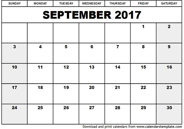 September 2017 Calendar, Printable September Calendar 2017, September 2017 Calendar Printable, September 2017 Calendar Template, Calendar September 2017