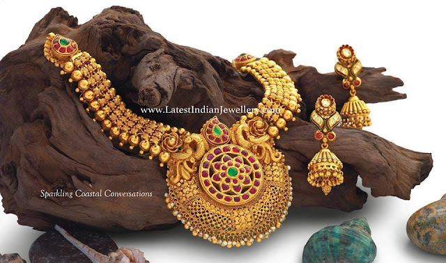 Heavy Antique Haram Kundan Jhumkas