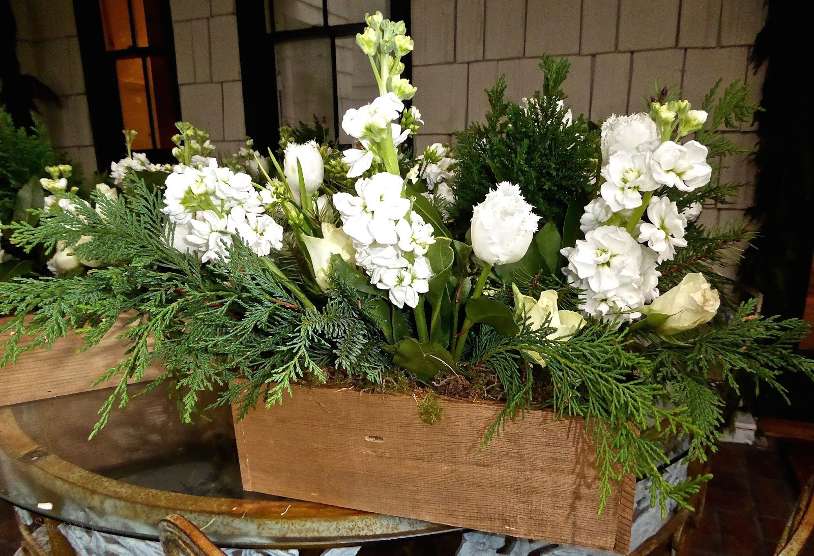 Long Living Flower Arrangements In Golden Boxes For The Holidays
