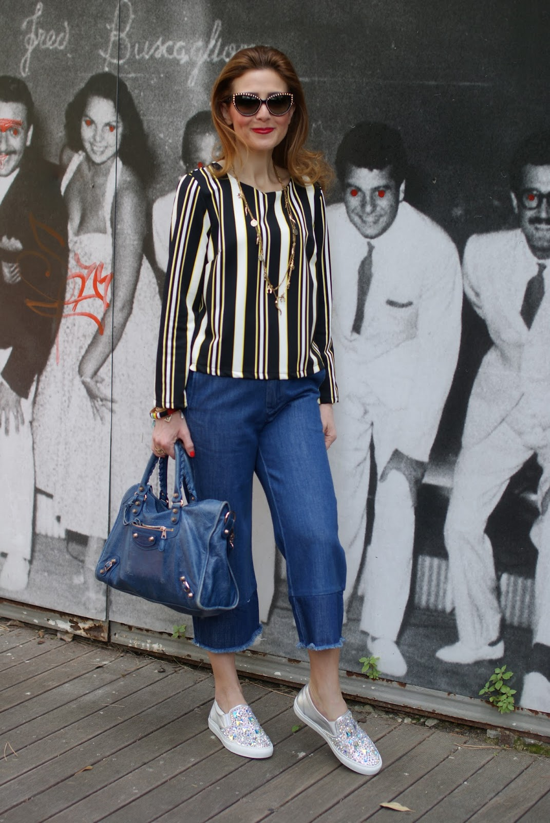 Denim culotte pants on Fashion and Cookies fashion blog, fashion blogger style