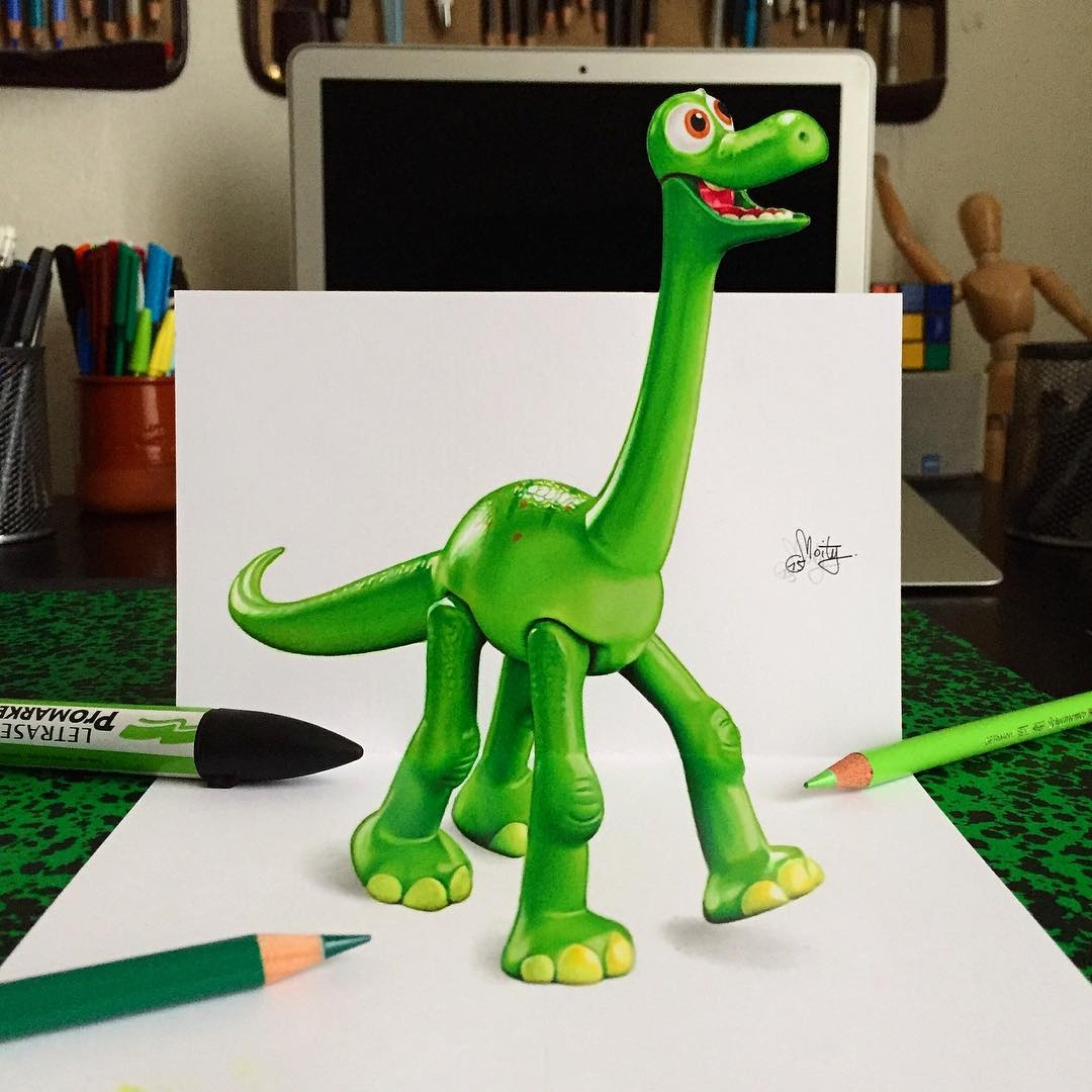 13-The-Good-Dinosaur-Stephan-Moity-2D-Drawings-Optical-Illusions-made-to-Look-3D-www-designstack-co