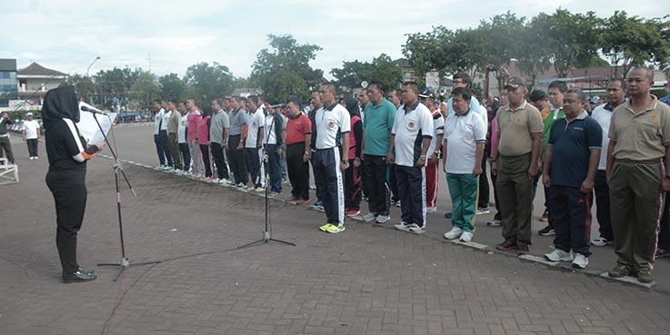Bupati Karawang dr. Cellica Nurrachadiana mengukuhkan tim Satuan Sapu Bersih Pungutan Liar (Saber Pungli) di Lapangan Karangpawitan Karawang