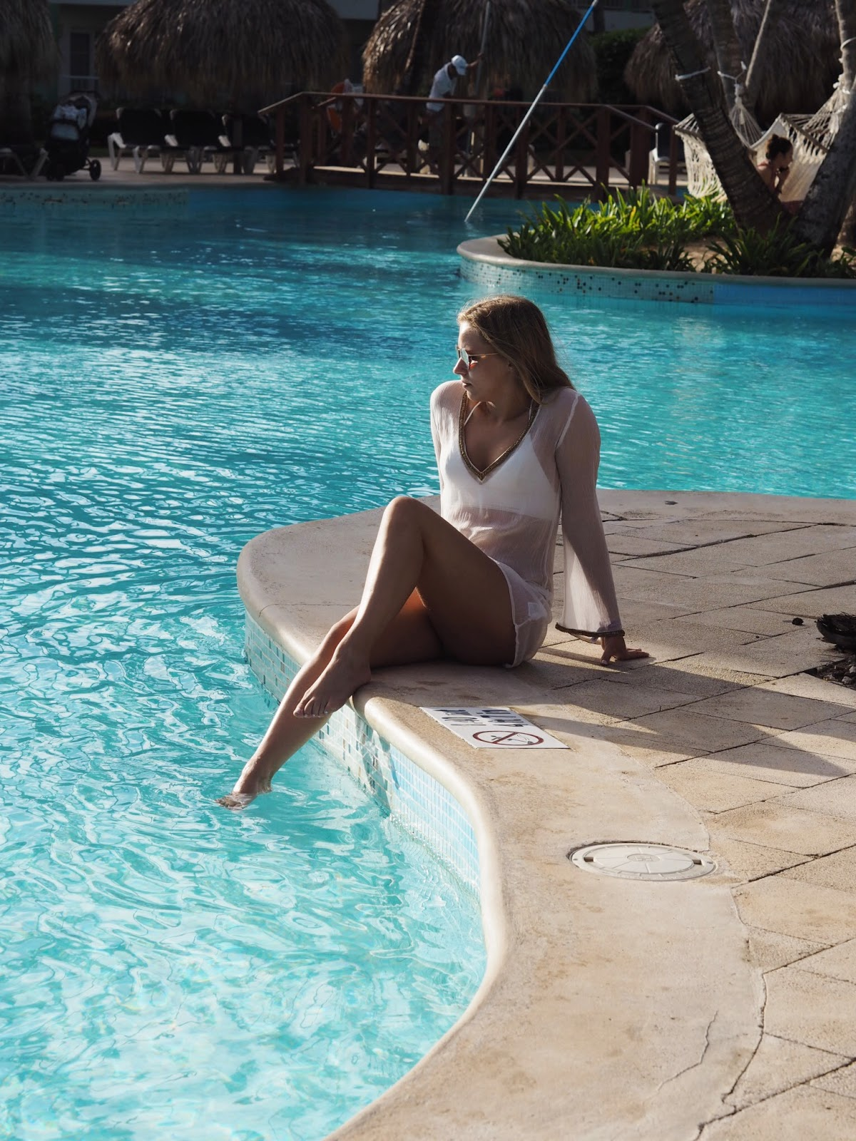Poolside in White Perissa Miss Tunica Tunic Ray Ban Blaze Sunglasses