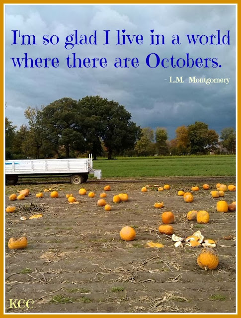 Fall Quote by L.M. Montgomery with Pumpkin Patch October Hayride Meme for Facebook or Pinterest.