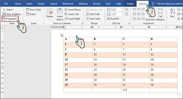 Cara 2 Menampilkan Kotak Dialog Properti Tabel