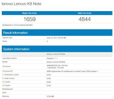 Lenovo K8 Note with Helio X20, 4GB RAM leaked