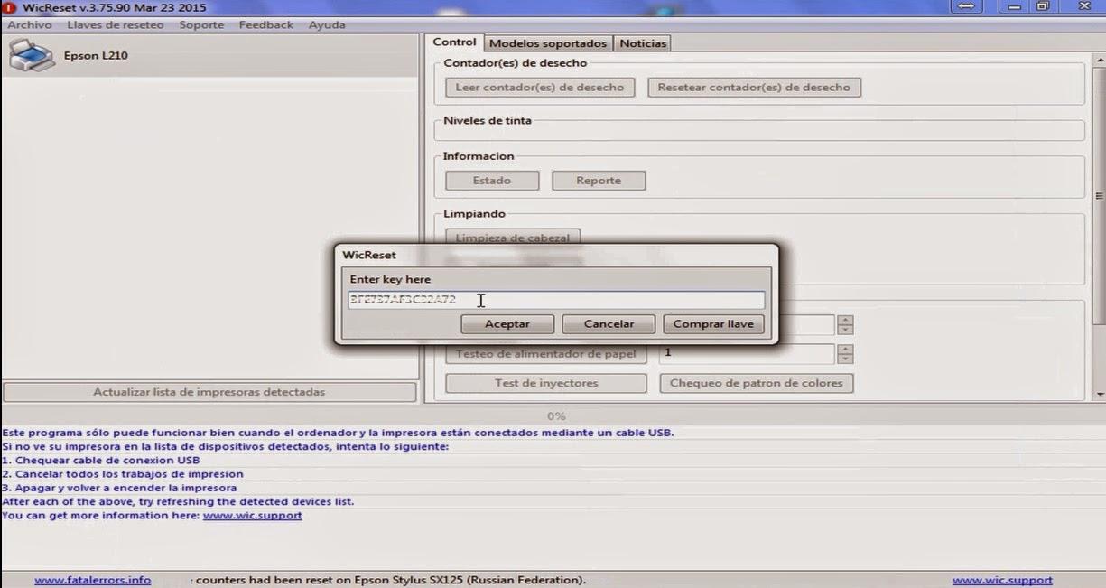 How to reset Epson L120 with WicReset   en Rellenado