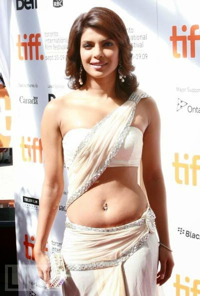 Priyanka Chopra nude shoulder saree