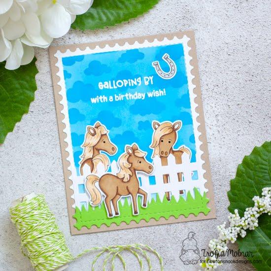 Horse Birthday Card by Zsofia Molnar | Neigh Stamp Set, Fence Die Set, Land Borders Die Set, Framework Die Set and Cloudy Sky Stencil by Newton's Nook Designs #newtonsnook