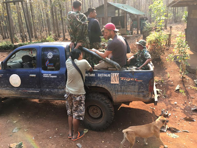 Several kilometers into the forest, we've stopped at the Khao Ruak Ranger Station and delivered drinking water. During the dry season, water is difficult to find. My good friend Ádám Molnár had recently arrived from Hungary. — with Ádám Molnár.