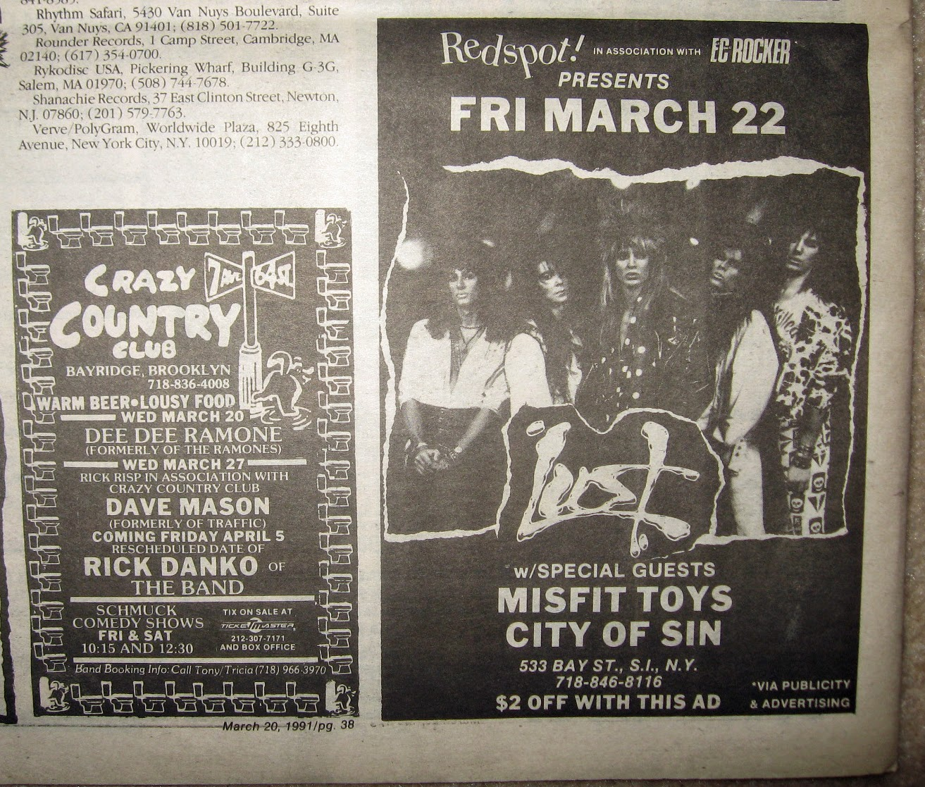 The Red Spot - Crazy Country Club band line ups 1991