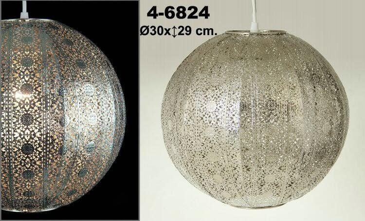lampara techo niquel, lampara de bola metal