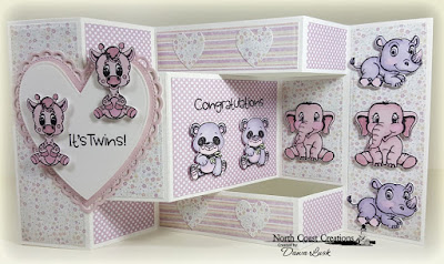 North Coast Creations Stamps & Dies: Bundle of Joy, ODBD Custom Dies: Tri-Shutter Card, Tri-Shutter Layers, Ornate Hearts, ODBD Paper Collections: Pastel Pack, Easter Card 2016