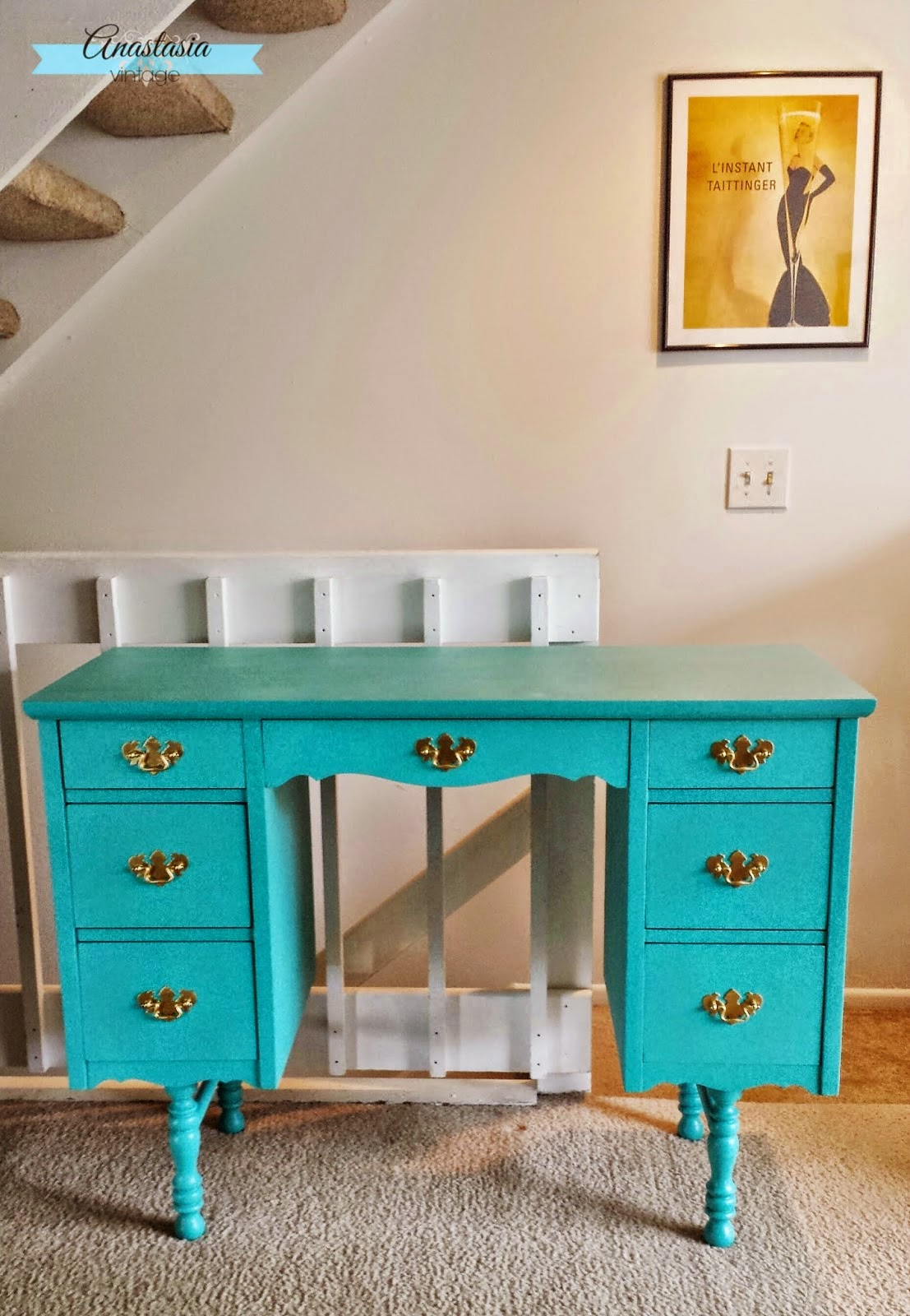 Teal and Gold Painted Vintage Vanity / Desk
