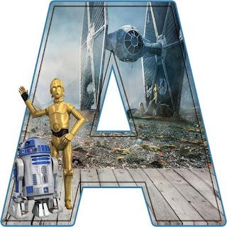 C3PO and R2D2 Letters. Letras de Star Wars.