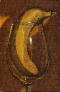 Oil painting of a banana upright in a wine glass.