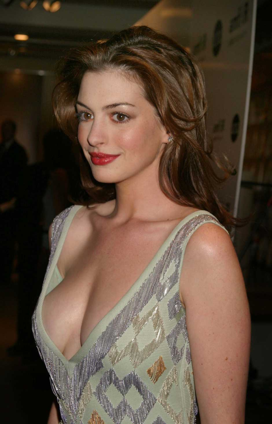 Anne Hathaway Huge Cleavage Show  Hot Actress Sexy Pics-5591
