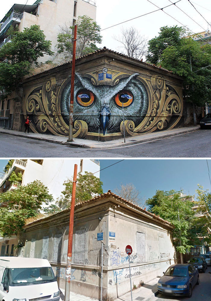 Mural of the Owls in Athens, Greece