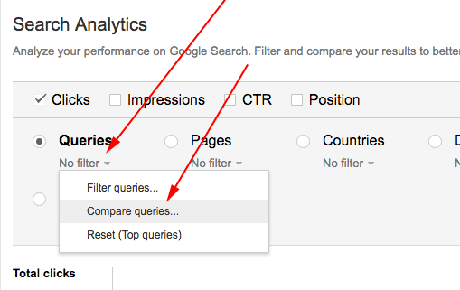Google Search Analytics Compare Queries Action