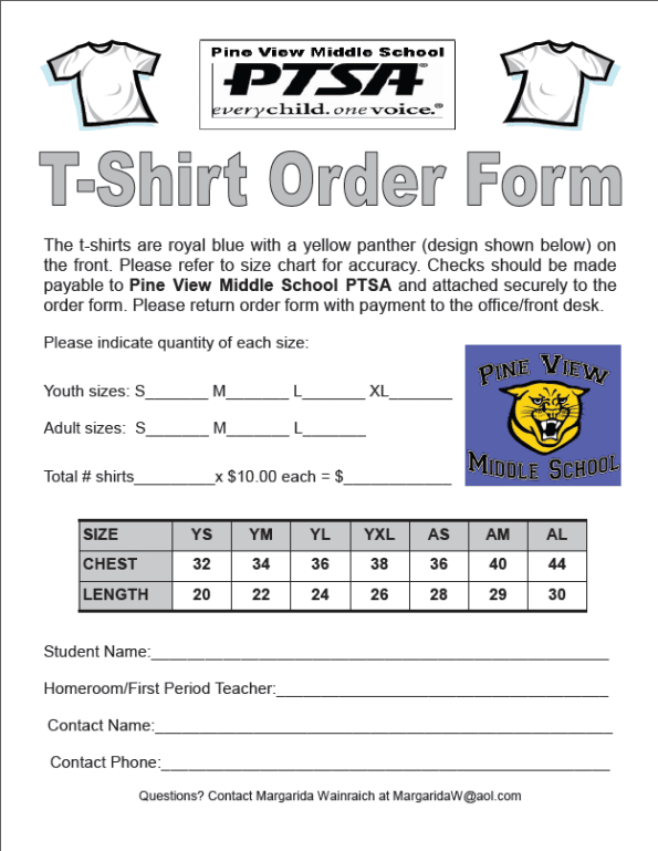 Printable T Shirt Order Forms Templates Excel Template
