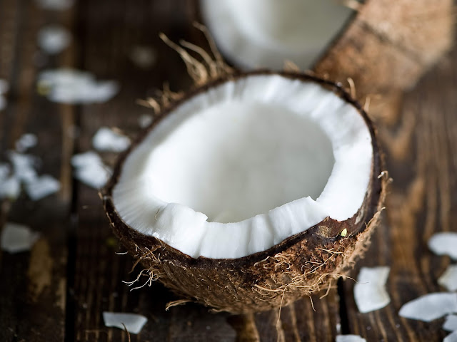 Coconut with brown husk