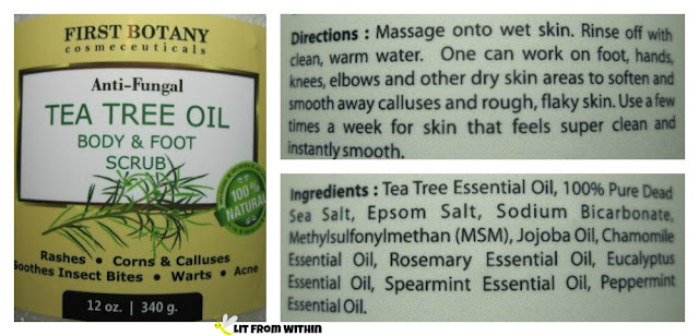First Botany Tea Tree Oil Body & Foot Scrub directions and ingredients