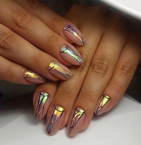 дизайн ногтей фольга 3