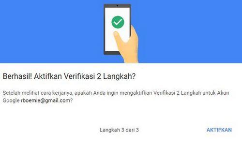 cara mengaktifkan verifikasi 2 langkah akun gmail