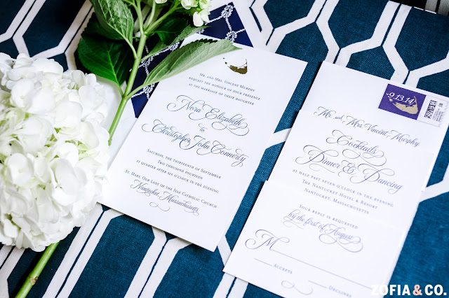 Navy and White Nantucket Wedding Invitation