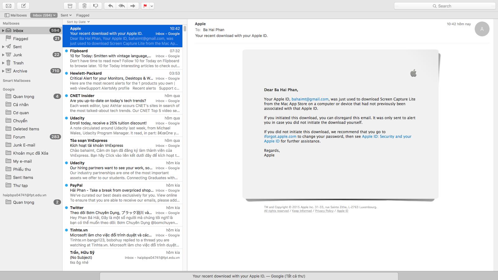 Minimize cửa sổ mail xuống, ta thấy một tab bên dưới