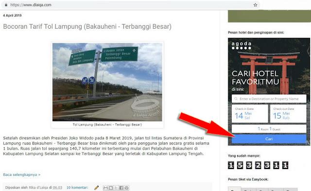 kotak pencarian Agoda pada widget sisi kanan halaman dlaiqa.com