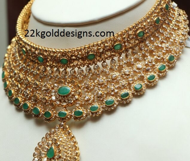 Emerald Uncut Diamond Necklace