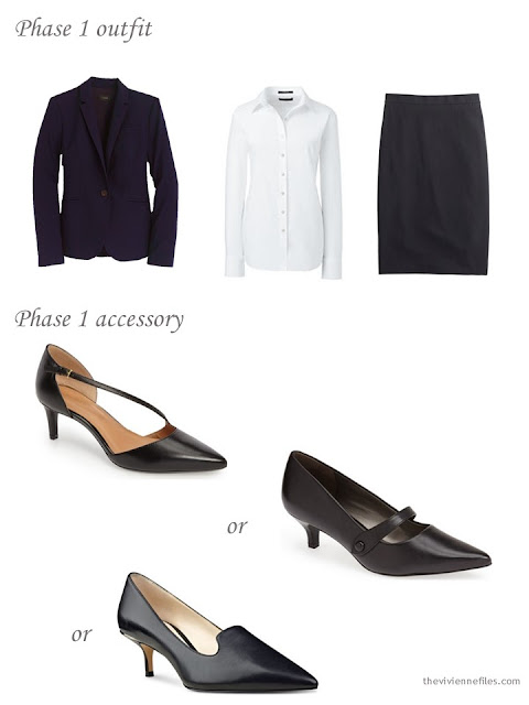 How to add black kitten heel pumps to a business capsule wardrobe