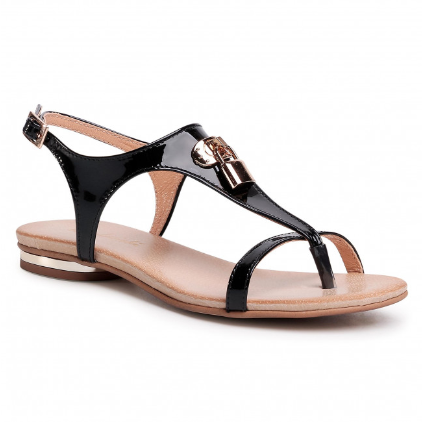 Sandale femei fara toc piele naturala lacuita negre ieftine R.POLAŃSKI