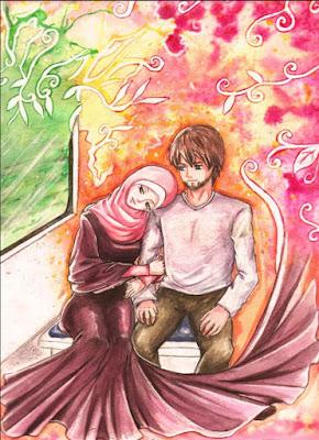 kartun romantis sepasang muslim dan muslimah
