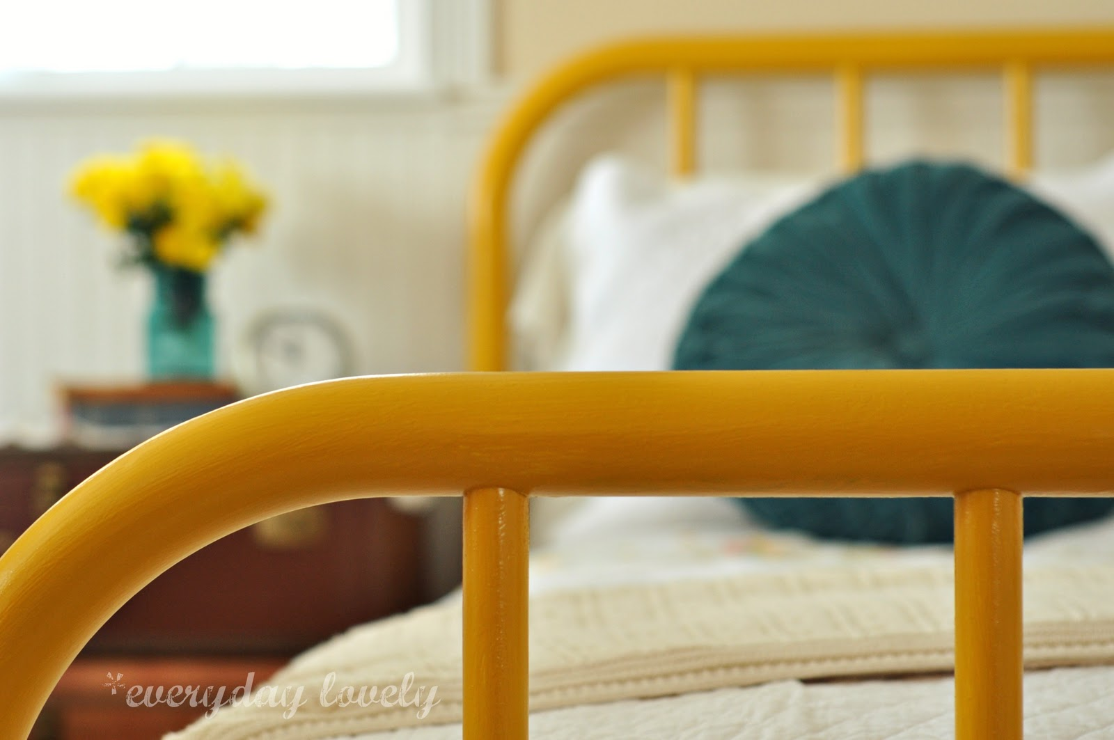 Gold Bed Frame Created With Spray Paint: Everyday Lovely: My Yellow Iron Bed