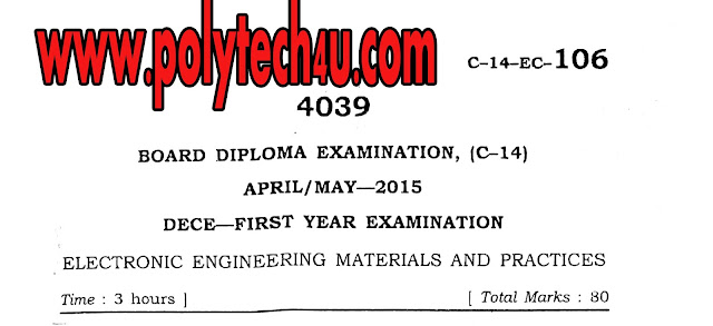 C-14 DECE ELECTRONIC ENGINEERING MATERIALS  AND PRACTICES QUESTION PAPER