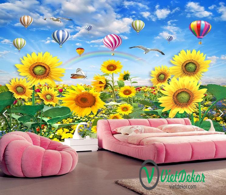 Tranh dán tường 3d hoa hướng dương
