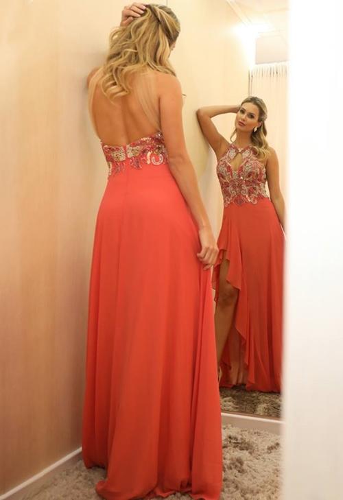 vestido de festa coral madrinha