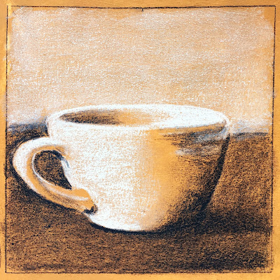 Daily Art 09-20-17 mug study in black and white colored pencil on toned gesso background in Canson XL Mix Media sketchbook