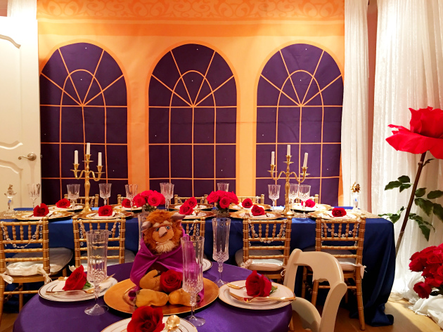 Beauty and the beast birthday party popular party for Beauty and the beast table and chairs